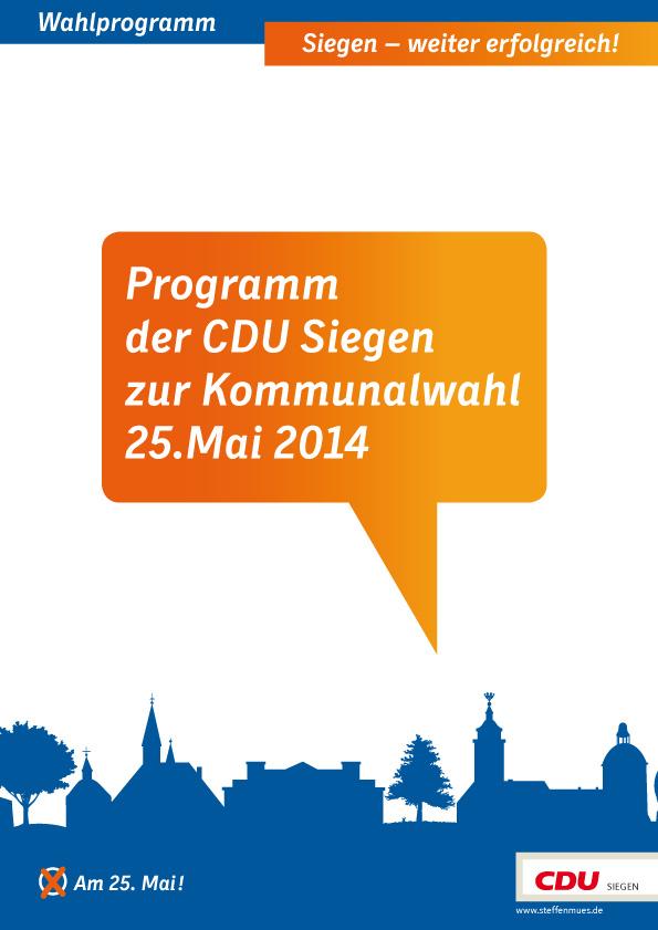 Bild: Das Programm der CDU Siegen zur Kommunalwahl 25. Mai 2014